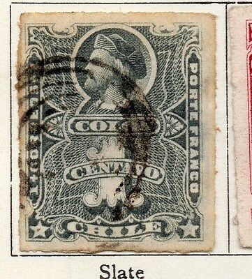 Chile 1877 Early Issue Fine Used 1c. 033515