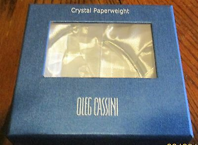 Oleg Cassini Signed Diamond-Cut Crystal Sailboat  Paperweight Free US Ship