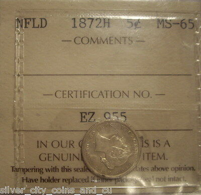Canada Newfoundland 1872H Silver 5 Cents - ICCS MS-65