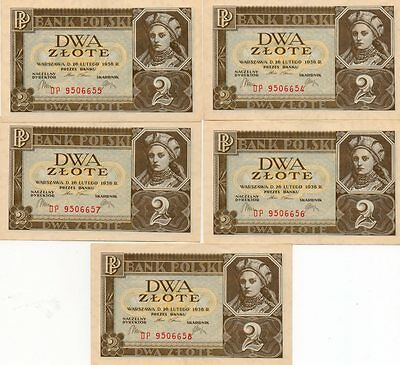 5 Sequentially Numbered UNC Dwa Zlote 2 Zloty 26 Feb 1936 Banknotes Poland