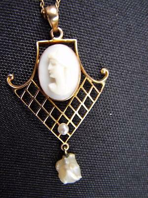 Antique Victorian 10k Gold Cameo and Fresh Water Pearl Lavalier Necklace