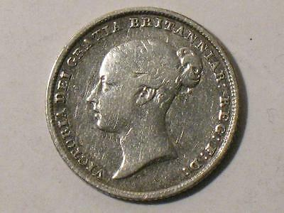 1845 Great Britain Sixpence - Six Pence Victoria 6 - World Foreign Coin