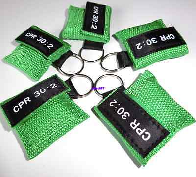 5pcs Green CPR Mask Face Shield with Keychain key Disposable Mask 30:2