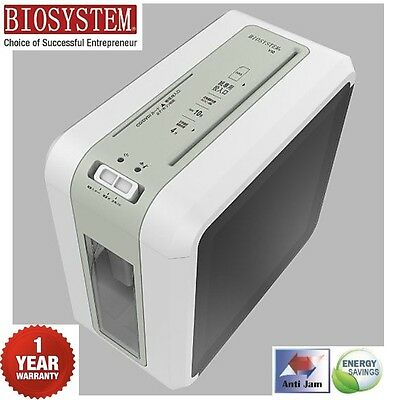 BIOSYSTEM 10L Cross Cut Shredder A4 Paper Sheet CD DVD Card Electric Home Office