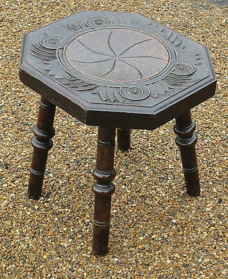 Antique Victorian Country Rustic Farmhouse Solid Oak Carved Stool