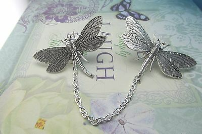 Dragonfly Tie Tacks Sweater Guards Cardigan Guards Collar Chain Dragonfly Pins
