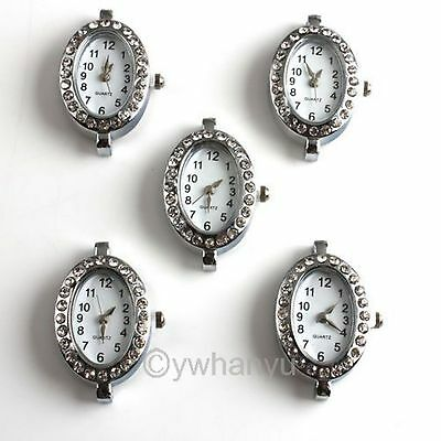 4PCS Fashion Watch Face For Beading Silver Plated Oval Shape 151452
