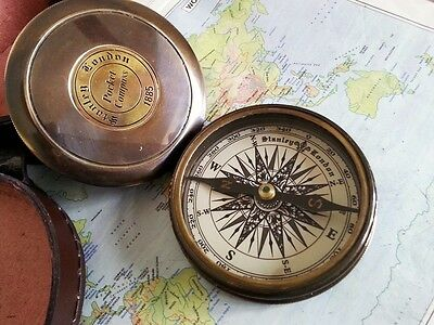 """Robert Frost Poem Antique Brass Compass Fully Working Vintage Style 3"""" Compass"""