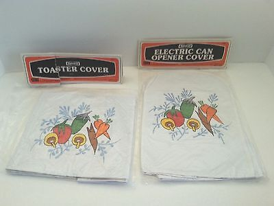 Toaster Electric Can Opener Covers Embroidered Quilted Vinyl Nevco 1977 Vintage