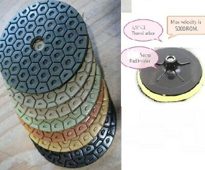 7 Inch Diamond Polishing Pads 7 PIECE SET Wet/Dry & Backer Pad Granite Concrete