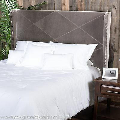 Bedroom Furniture Cal King to King Grey Fabric Wingback Accent Headboard  Headboards Footboards Beds Mattresses. California King Grey Sauder Beds   s rk com