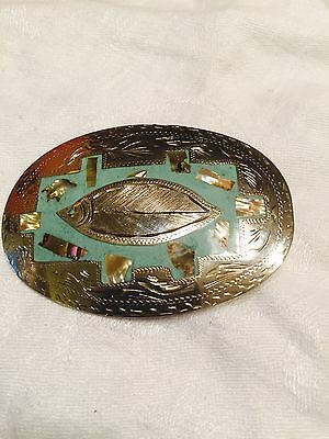 "Vtg Mexico Sterling Silver Oval 3 1/4"" Belt Buckle Turquoise Enamel Inlay W/fish"