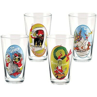 """Set of 4 Collectible Dr. SeussTM """"The Grinch"""" 16 Ounce Glass Cups"""