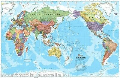 (LAMINATED) WORLD MAP PACIFIC CENTERED (99x155cm) SUPER GIANT AUSTRALIA MIDDLE