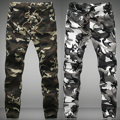 Cool Men's Cotton Military Camouflage Joggers Cargo Pants Army Camo Trousers