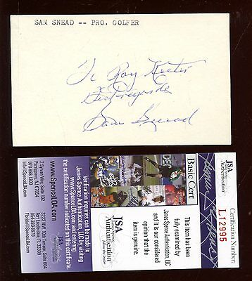 Sam Snead Pro Golf Autographed Personalized 3x5 Index Card JSA