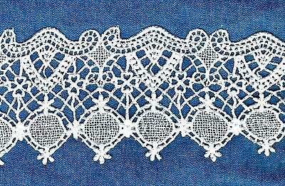 Venise Venice Lace Edge Ivory  Vintage Circle Trim  Linen Dolls Crafts #430