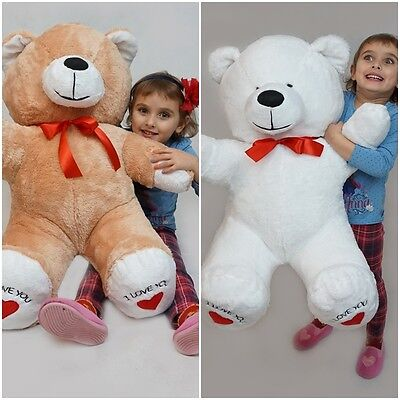 100 cm !GIANT LARGE BIG HUGE TEDDY BEAR  * I LOVE YOU * EMBROIDERY GREAT GIFT !