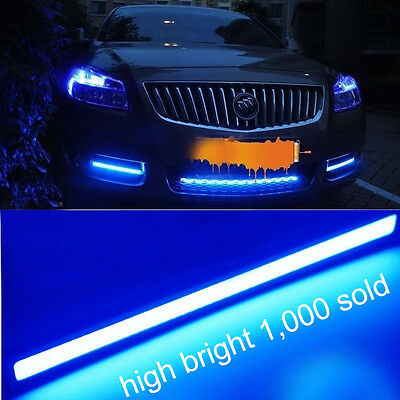 2x Ultra Bright COB Blue LED Lights 12V For DRL Fog Driving Lamp Waterproof 17cm