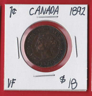 1892 Canada Large One Cent Coin Please See Scan 6926   VF