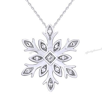 "14k White Gold Over Diamond Accent Snowflake Pendant with 16"" Silver Chain"