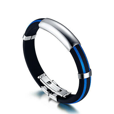Mens Wristband Fashion Stainless Steel Rubber Silicone Cuff Bangle Wrap Bracelet