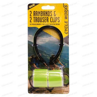 High Visibility Fluorescent Reflective Arm Trouser Clip Strip Band Biking Cycle