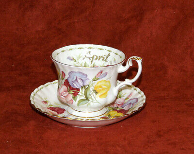 Royal Albert  Sweet Pea Flower of the Month Series April cup saucer set