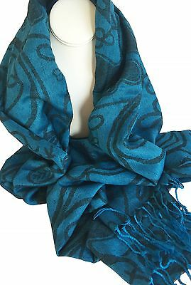 Irish Shamrock Design Scarf, Direct from Ireland! Blue and Black Design