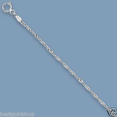 "10"" Twisted Sparkle Singapore Chain Ankle Bracelet Anklet Real 14K White Gold"