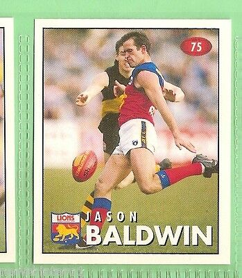 1996 Afl Select  Sticker  #75  Jason Baldwin,  Fitzroy Lions