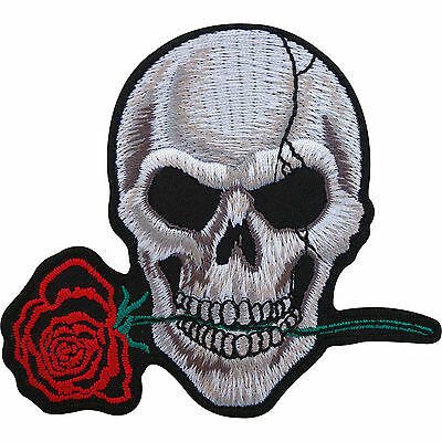 Biker Patch Skull Rose Embroidered Badge Iron On / Sew On Clothes Jacket Jeans