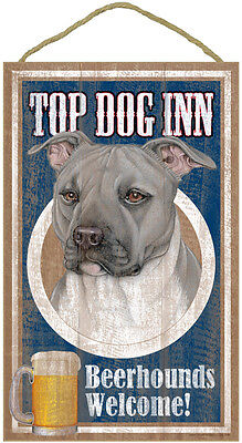"Top Dog Inn Beerhounds Pitbull Bar Sign Plaque dog 10""x16""  gray grey Pit Bull"