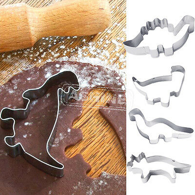 4PCS Stainless Steel Dinosaur Cookies Cutters Biscuit Pastry Cake Fondant Mould