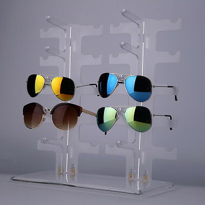 2 Row 10 Pairs Sunglasses Glasses Rack Holder Frame Display Stand Transparent FE