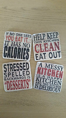 Shabby Chic 4 Square Kitchen Kitsch Coasters Coffee Tea Mug Place Mats