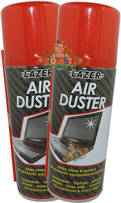 2 Compressed Air Duster Spray Can Cleans Protects Laptops Keyboards- 400ml total