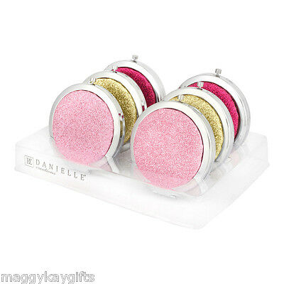 Chrome Push Button Glitter Sparkly Compact Mirror - Pink - Gold - Girls Gift