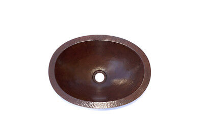 Zion Petite Oval Bathroom Copper Sink   Rolled Lip   Handmade Hammered  Artisan