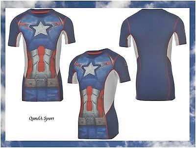 Youth Marvel Captain America Compression Base Layer Skins Tight T-Shirt Sondico
