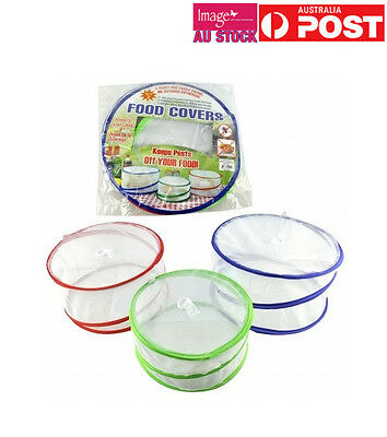 2x Pk of 3 Pop Up Mesh Food Covers Insect Fly Tent Kitchen BBQ Picnic KS0024