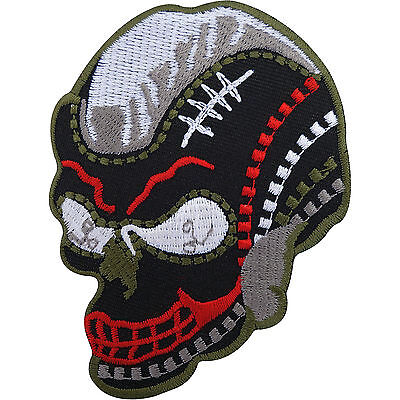 Biker Iron On Badge Patch / Sew On T Shirt Embroidered American Football Skull