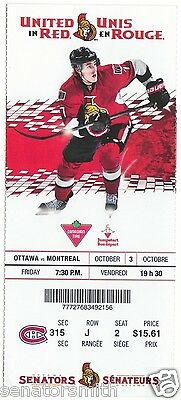 2014-15 Kyle Turris unused Ottawa Senators season photo ticket stub