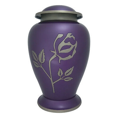 Large Urn Ashes, Avondale Purple Rose Adult Memorial Urn