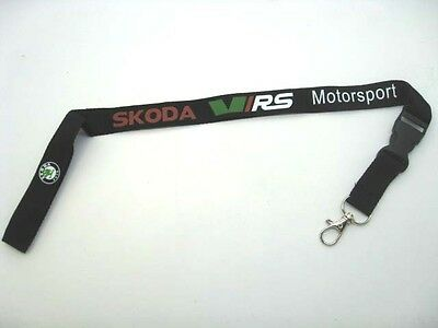 SKODA VRS Black Lanyard Neck Strap ID Card Pass Keyring Mobile Accessories