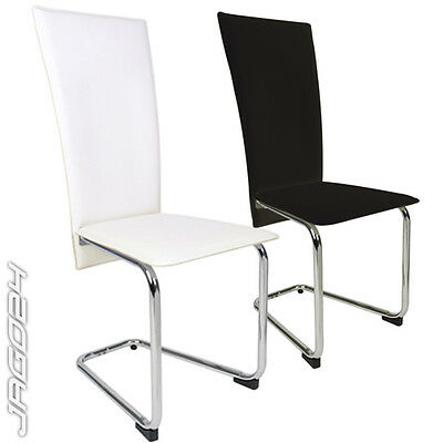 2 4 6 Faux Leather High Back Chrome Legs Dining Room Chair Set Cream-White Black