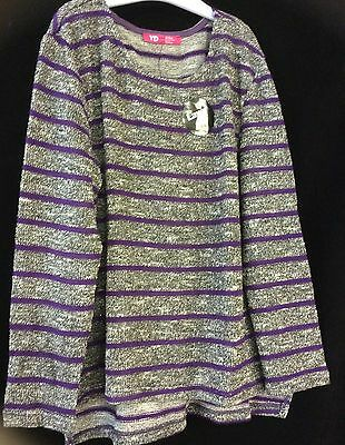 Grey Silver Sparkle Stripe Young Girl Jumper - Age 7-8-9-10-11-12-13 Years