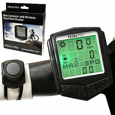 Pedalpro Digital Lcd Speedo/bike Computer With Wireless Heart Rate Pulse Monitor