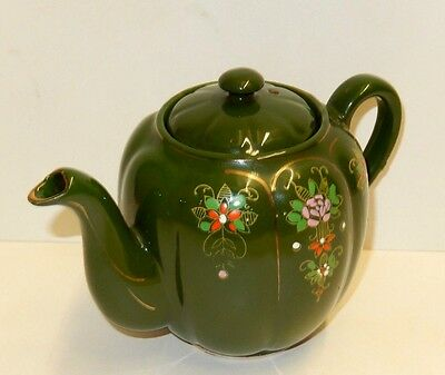 Vintage Unusual Ribbed Green Teapot With Moriage Flowers - Made In Japan