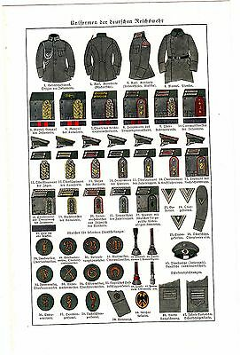 1930s GERMANY REICH REICHWEHR MILITARY UNIFORM Antique Litho Print